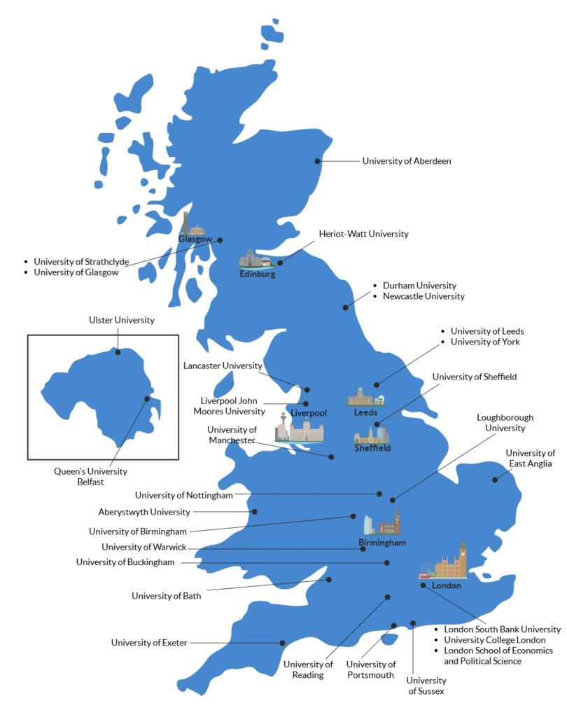 Map of Top Finance and Accounting Universities in the UK