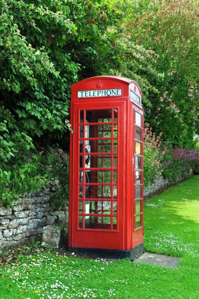 British Old Telephone Booth in Garden
