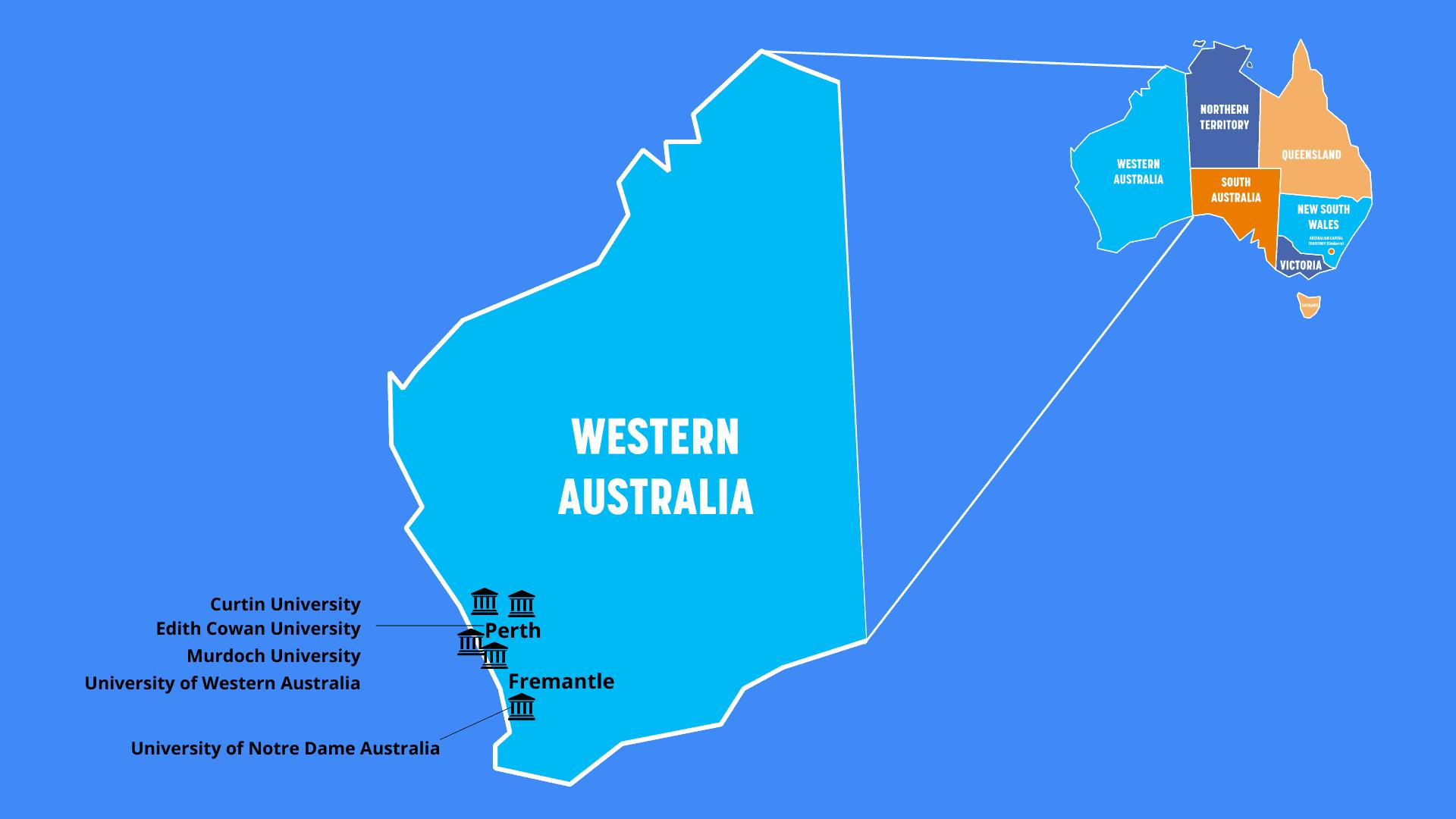 Universities in Western Australia Map